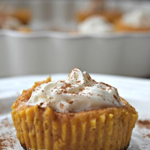 Mini Pumpkin Cheescakes - they are cheescakes in cupcake form! The perfect fall dessert.