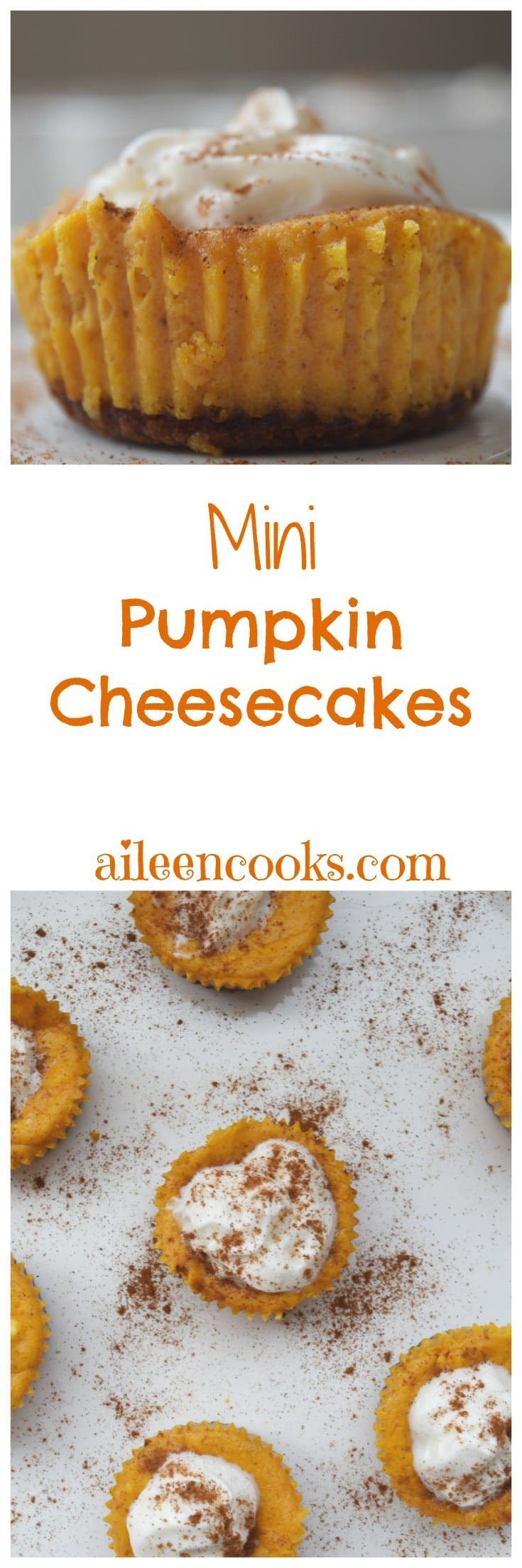 Mini Pumpkin Cheesecakes - they are cheesecakes in cupcake form! The perfect fall dessert.