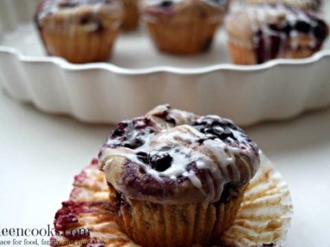 Whole Wheat Mixed Berry Muffins with Vanilla Drizzle