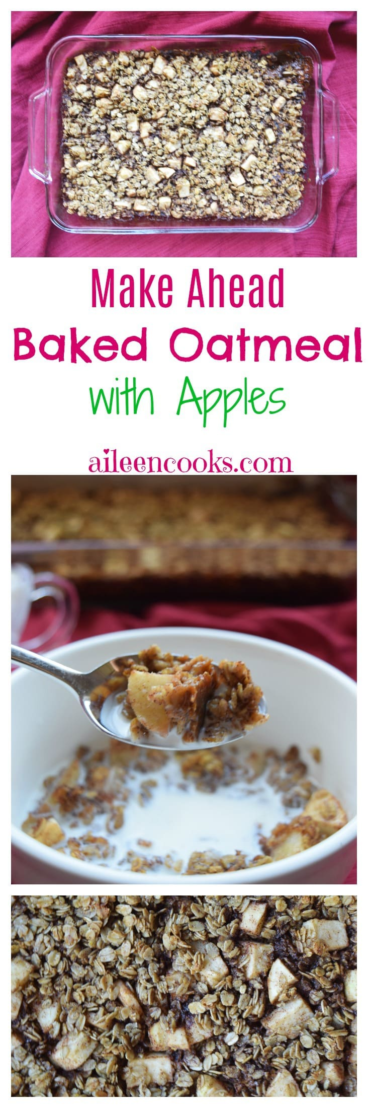 Make ahead baked oatmeal with apples. This recipe is freezer friendly and reheats nicely all week. The perfect recipe for a busy back to school season.