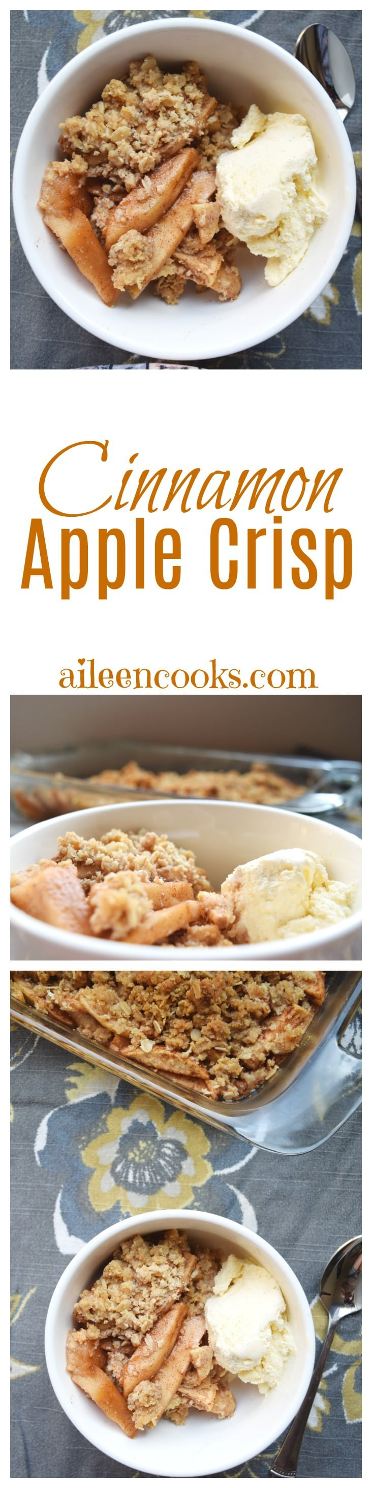 Make this Cinnamon Apple Crisp and celebrate fall's favorite fruit! You can also find recipes for cobbler, apple cinnamon rolls, baked oatmeal with apples, and more on aileencooks.com!
