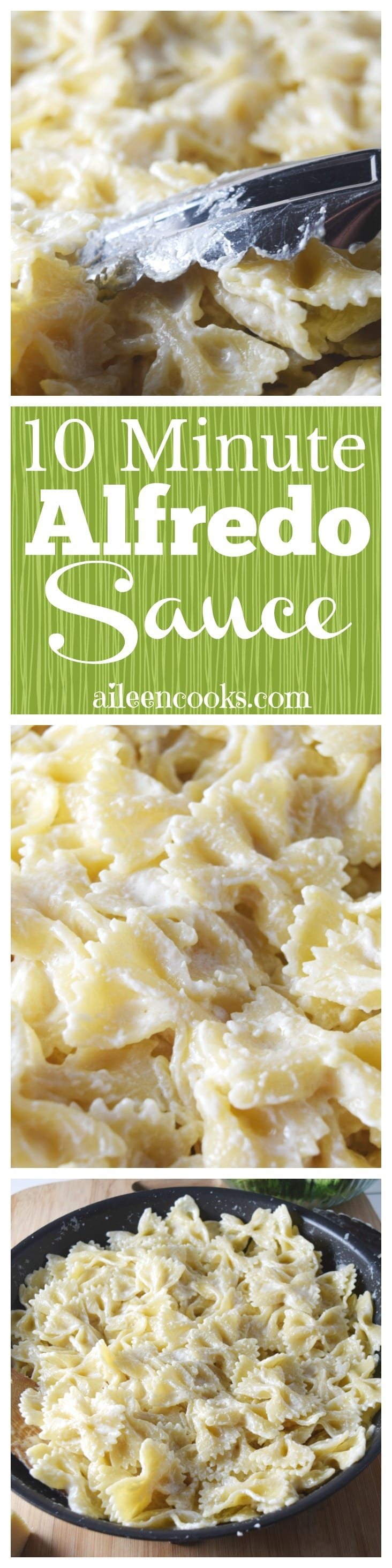 10 minute Alfredo sauce. With just a few simple ingredients, you will have restaurant quality Alfredo sauce ready in just 10 minutes. This sauce is delicious on a pasta like fettuccine or as a pizza sauce.