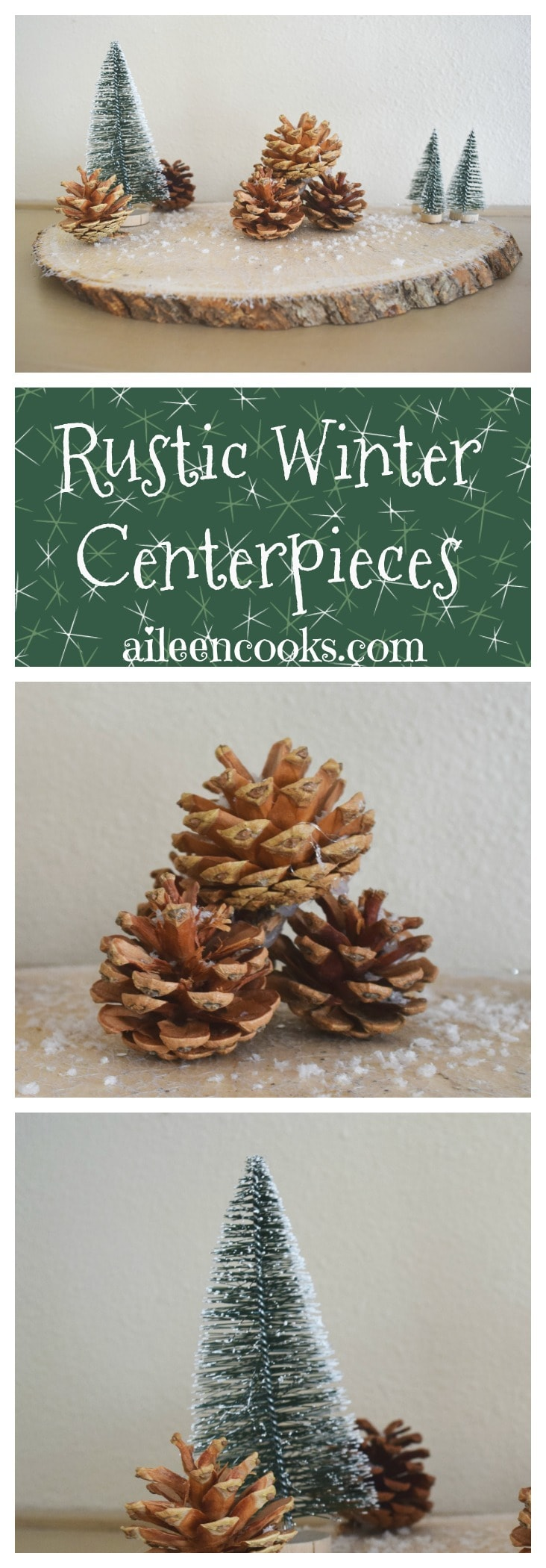 Create this festive and rustic winter centerpiece with wood rounds, sisal trees, pine cones, and craft snow!