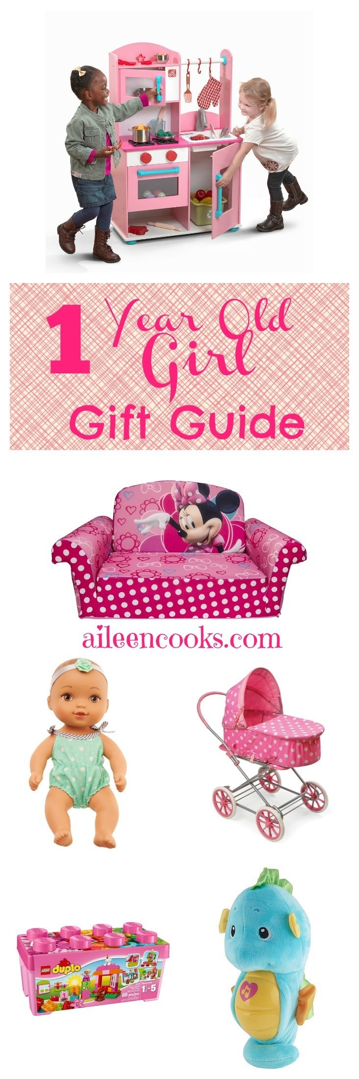 This one year old girl gift guide is a collection of quality, tried and true toys from a mom of 3. These toys are perfect for your older baby and toddler girls. All of these toys are available on Amazon, too!