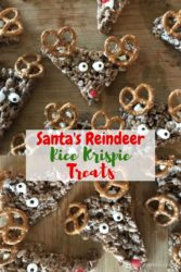 "Collage photo with words ""Santa's reindeer Rice Krispie treats"""