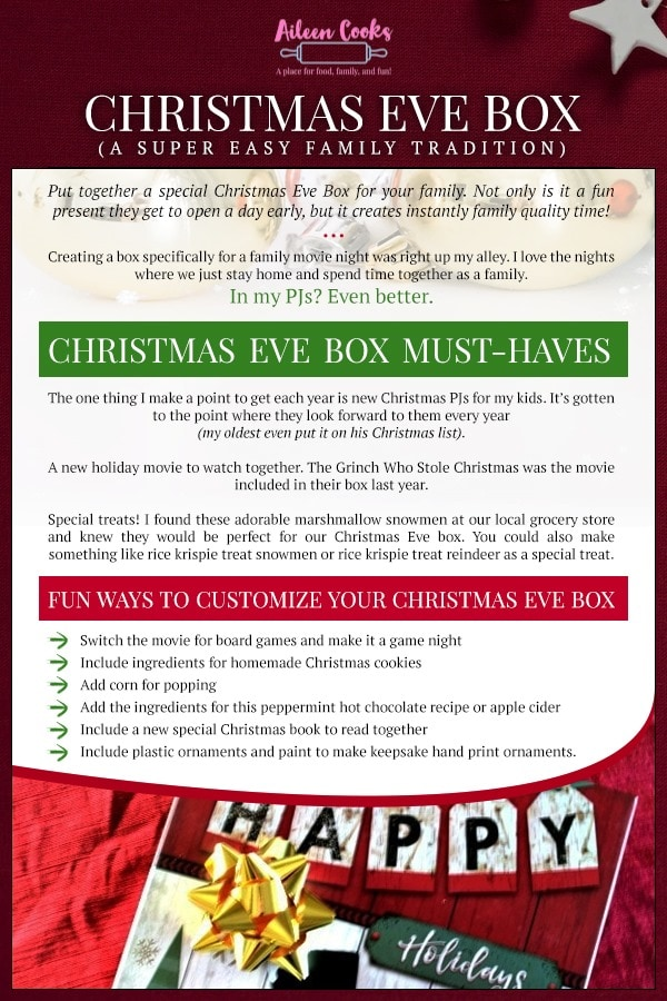 Infographic with all of the ideas for filling a Christmas Eve box.