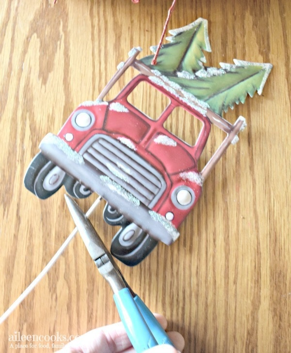 metal red truck for red glitter wreath