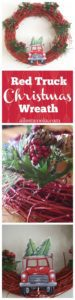 Christmas Truck Wreath Tutorial / red truck glitter wreath with leaves and berries