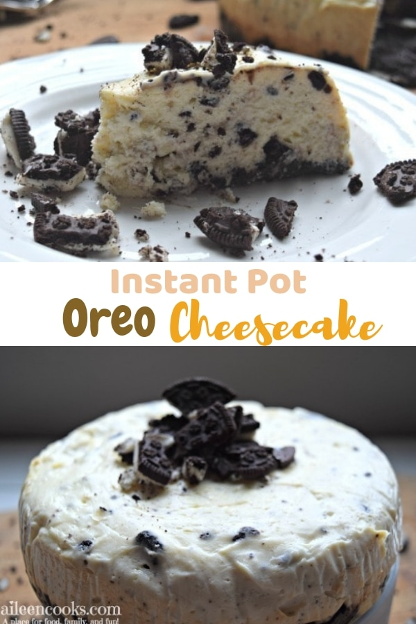 Make this creamy, Oreo-filled instant pot cheesecake! You will fall in-love with this easy instant pot Oreo cheese cake recipe!
