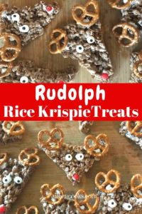 "Collage photo with words ""Rudolph Rice Krispie treats"""