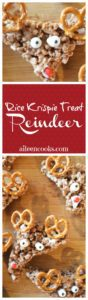 Make these fun and delicious rice krispie treat reindeer using cocoa krispies. This recipe is from California lifestyle blogger Aileen Clark.