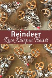Collage photo of brown Rice Krispie treats decorated like reindeer.