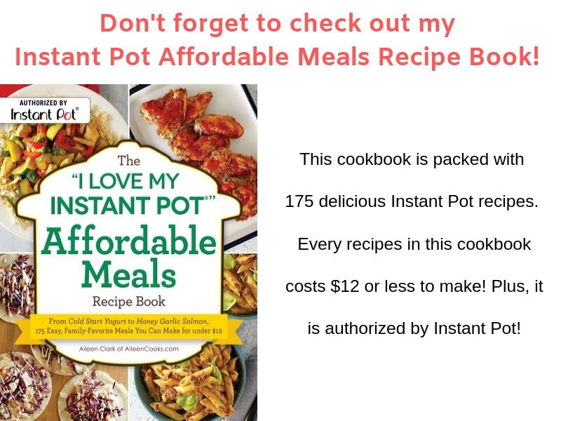 "Cover art of The ""I Love My Instant Pot"" Affordable Meals Recipe Book."