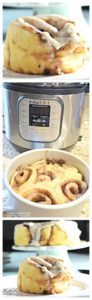 Collage of cinnamon roll, instant pot, push pan with cinnamon rolls, and cinnamon rolls on a cake stand.