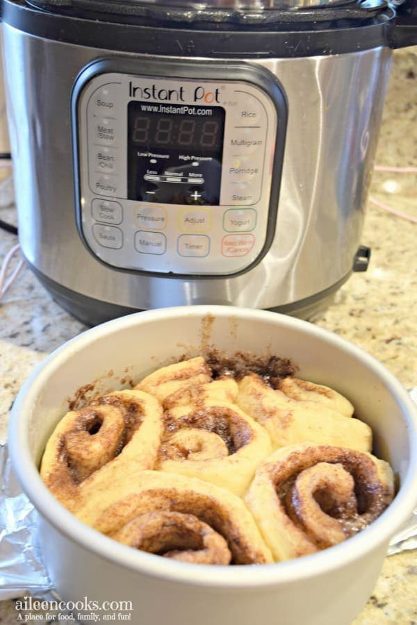 Make these ooey gooey delicious instant pot cinnamon rolls from scratch. No rise time needed! One of our favorite instant pot desserts / instant pot breakfast recipes!