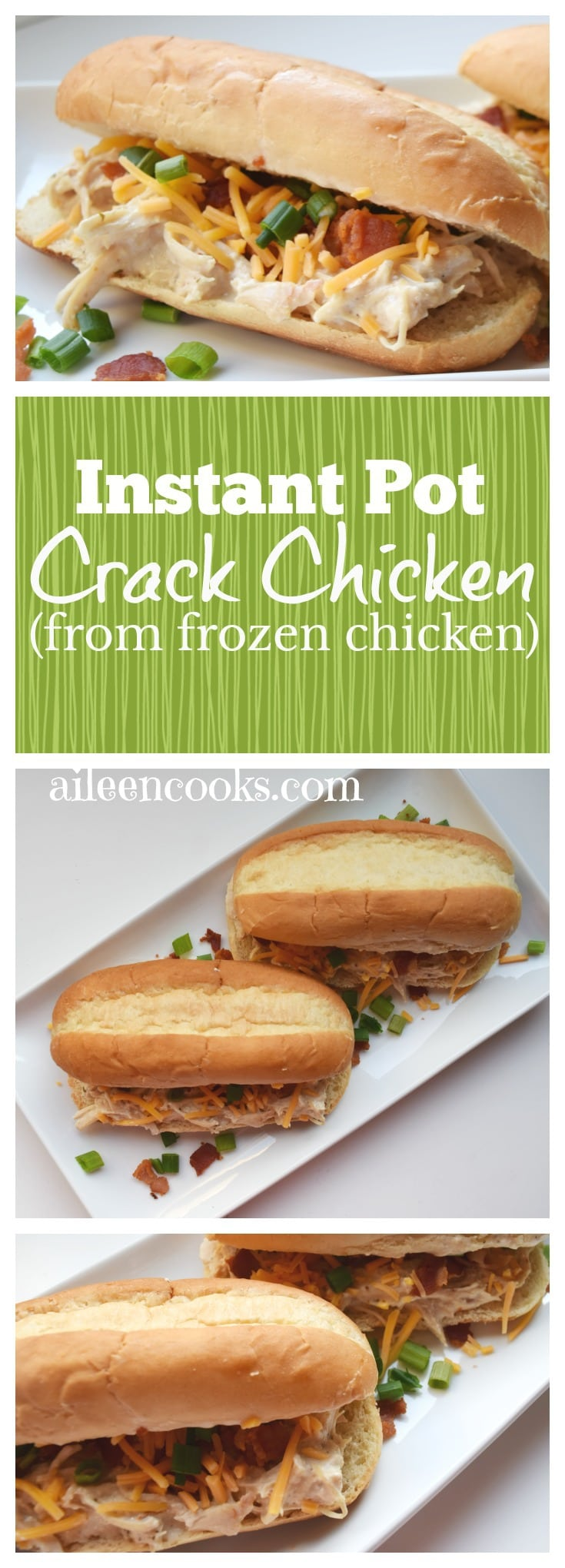 I made this crack chicken recipe and didn't even have to defrost my meat! Instant Pot Crack Chicken is a tasty and versatile chicken recipe made with frozen chicken breast, bacon, cream cheese, ranch seasoning, green onions, and sharp cheddar.