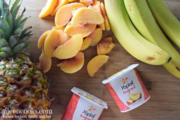 Make this yummy fruit smoothie! Peach Paradise smoothie is packed full of peaches, pineapple, banana, and yogurt.