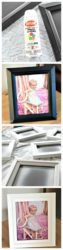 Collage of can of spray paint, black picture frame, spray painted picture frames, and white picture frame.