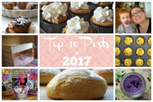 "Image that says ""top 10 posts of 2017"" with pictures of cupcakes, smoothies, easter baskets, bunk beds, egg muffins, and little girl with pacifier."