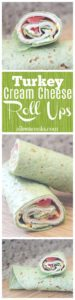 Turkey cream cheese roll-ups stacked on top of each other.