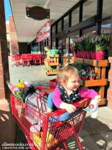 Girl child in trader joe's shopping cart.