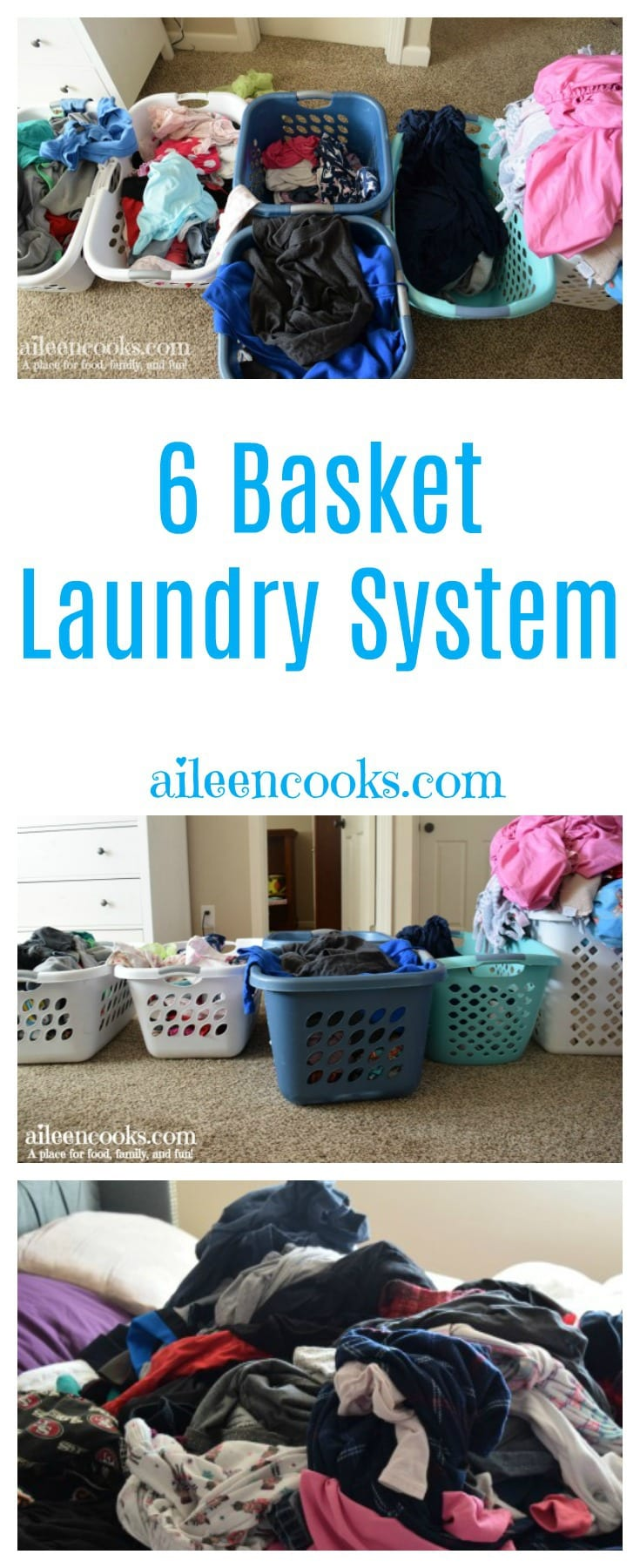 This is how we make laundry work in our house! A 6 basket laundry system that gets the kids to help with the chores!