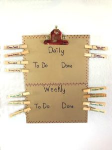 Clipboard Chore Chart with Clothespins