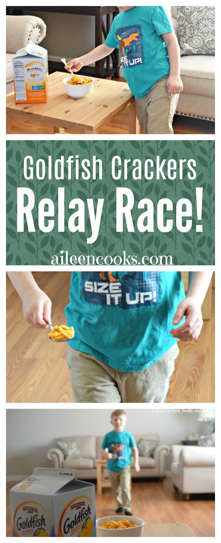 Have an indoor relay race with the Goldfish Crackers relay race! You probably already have everything on hand for this fun activity. Let your kids burn some energy (then maybe they will nap)!