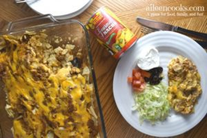 Make this crowd-pleasing nacho cheese taco casserole. It's packed full of taco flavor and topped with delicious nacho cheese!