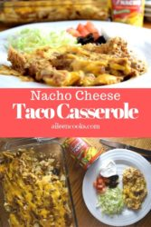 """Plate of nacho cheese casserole next to casserole dish with words """"nacho cheese taco casserole""""."""