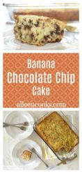 one slice of banana chocolate chip cake and a baking dish with banana cake inside.