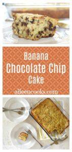 one slice of banana chocolate chip cake and a baking dish with banana cake inside.