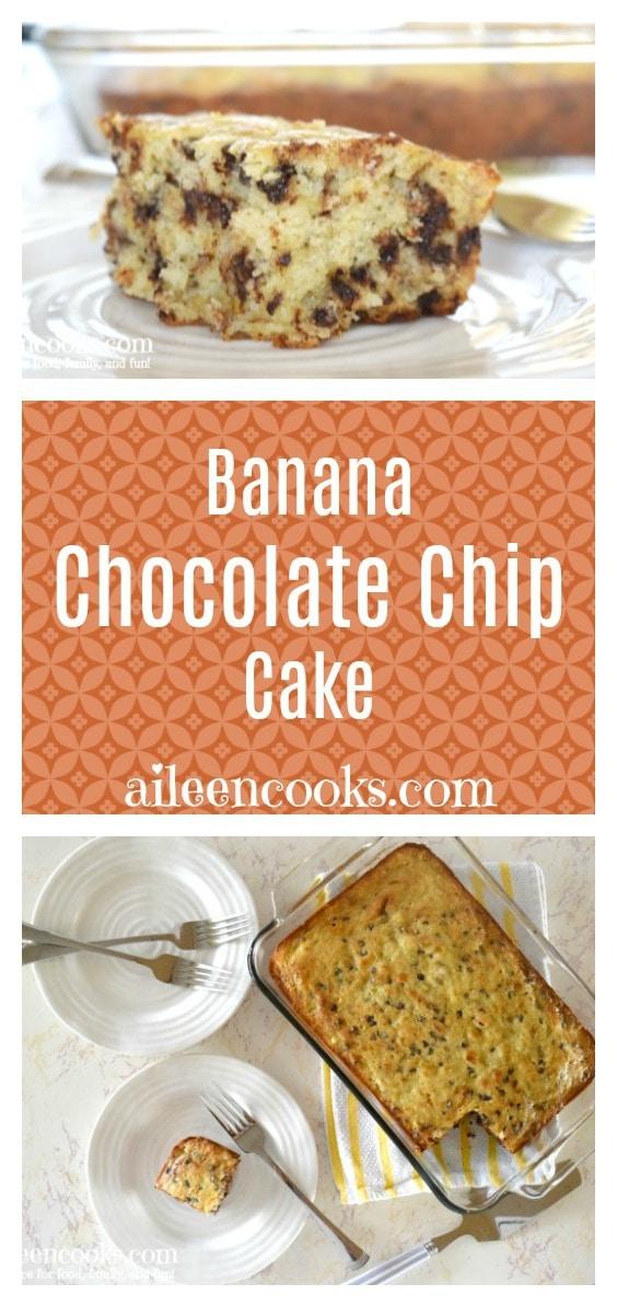 Light, fluffy, and sweet banana chocolate chip cake. We like to call it