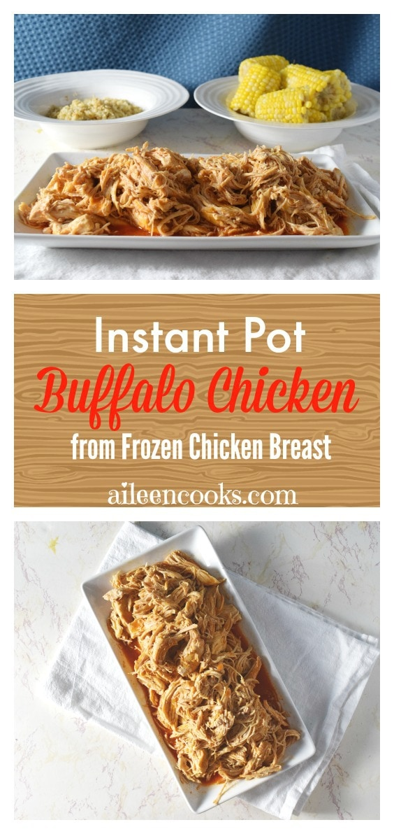 Make this delicious buffalo chicken using just a few ingredients and frozen chicken breasts. The best part? It's ready in under an hour thanks to the handy dandy Instant Pot pressure cooker!