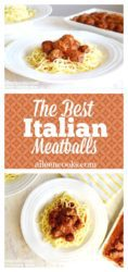 Two image collage of italian meatballs in marinara on top of a plate of spaghetti.