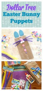 paper bag bunny puppet with pipe cleaners, buttons, wiggly eyes, glue, paper bag, and sparkly paper.