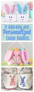 Pink, blue, and white easter baskets