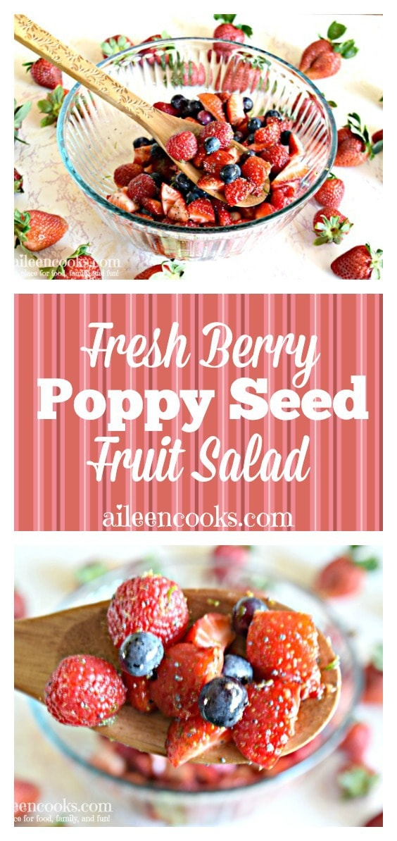 Our new favorite fruit salad! Triple berry fruit salad with poppy seed dressing is packed full of strawberries, raspberries, and blueberries, then topped with a honey lime poppy seed dressing. It is so good!