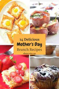Mother's day brunch ideas - banana blueberry muffins, egg tarts, bacon wrapped eggs, and strawberry coconut casserole.