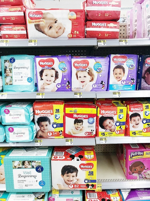 grocery store shelf of diapers
