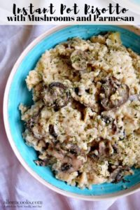 """A blue bowl filled with risotto and the words """"instant pot risotto with mushrooms and parmesan"""""""