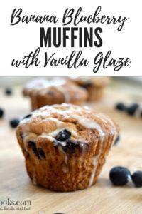 banana blueberry muffins with vanilla glaze recipe