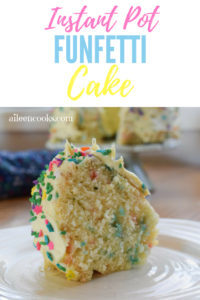 A slice of instant pot Funfetti Cake topped with confetti sprinkles.