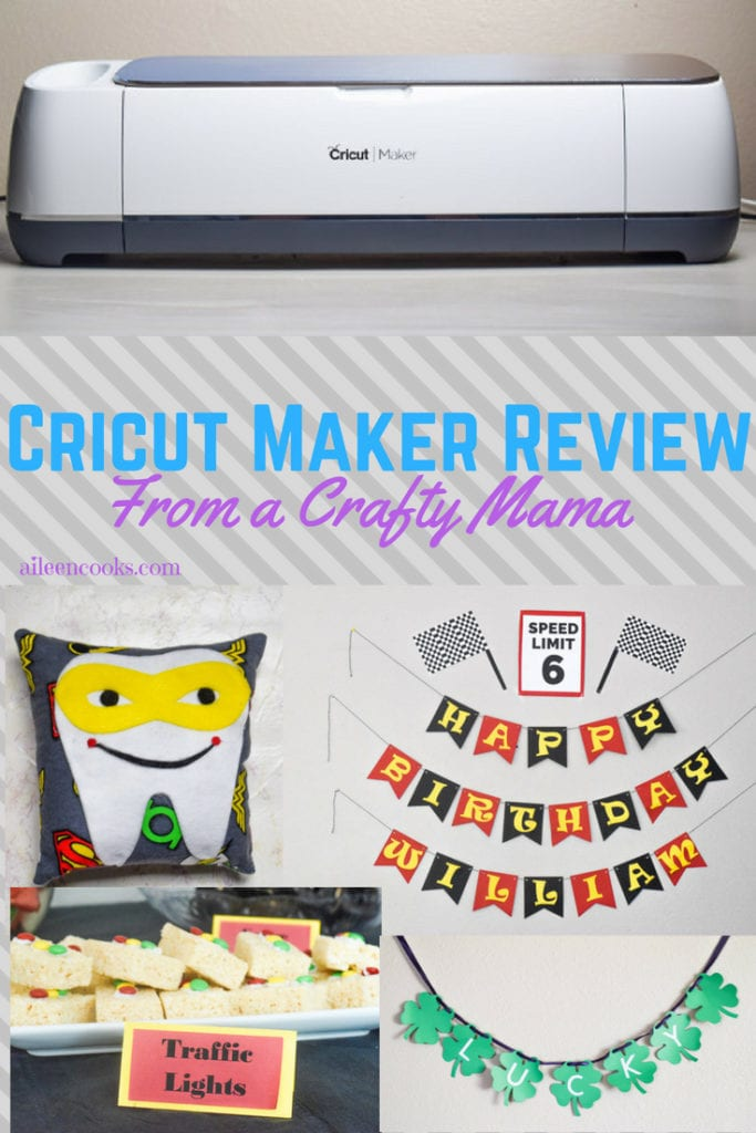 "Cricut Maker above words that say ""Cricut Maker Review""."