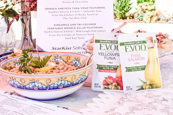 White Bean Tuna Salad featured at the StarKist Selects EVVO Tuna Recipes event