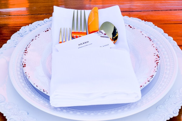 Beautiful all white place setting at the StarKist Selects EVOO event.