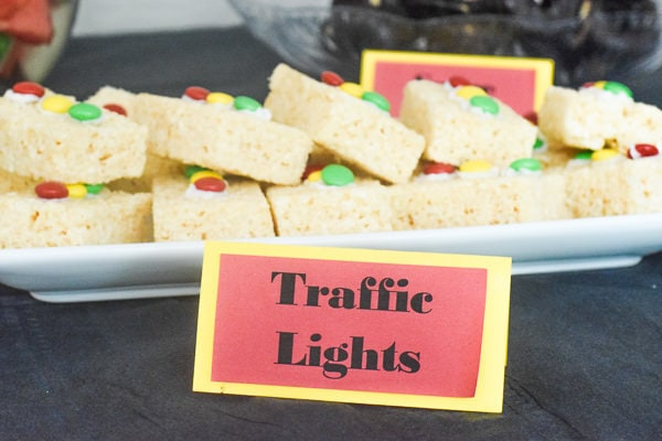"Plate of rice krispie treat traffic lights with name tag ""traffic lights"" in front that was made with the cricut maker."
