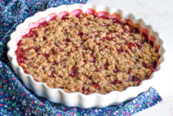 Plum crisp made with fresh plums sitting on a blue floral napkin over a white countertop