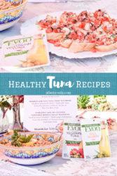 two delicious tuna recipes featured - tuna bruschetta and tuna wraps