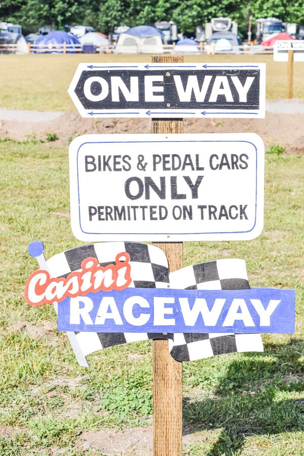 Casini Raceway sign at Casini Ranch Resort.